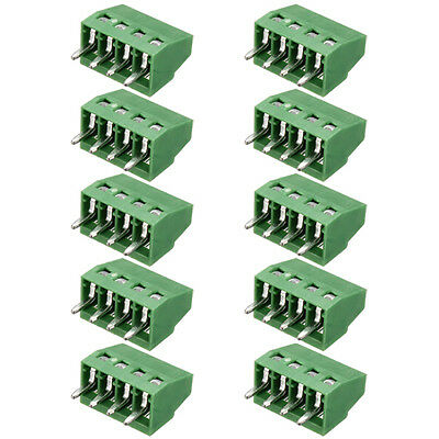 "10x 4 Poles/4 Pin 2.54mm/0.1"" Pitch PCB Universal Screw Terminal Block Connector"