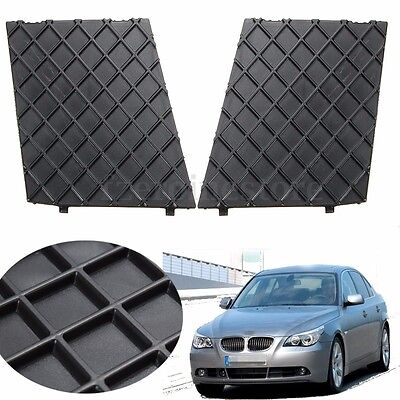 Pair For BMW E60 E61 M Sport Black Front Bumper Cover Lower Mesh Grill Trim