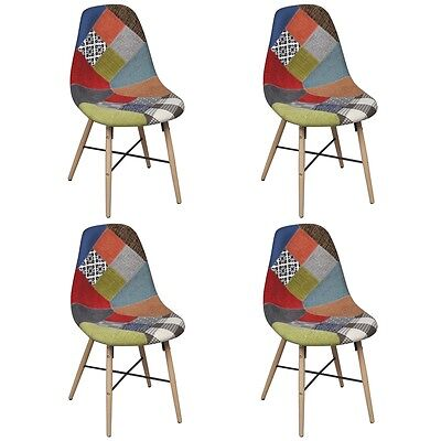 Set of 4 Patchwork Dining Chair Retro Restaurant Cafe Kitchen Fabric Timber Legs