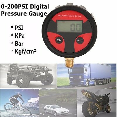 0-200psi LCD Digital Tyre Tire Air Pressure Gauge Manometer Car Motor Truck Auto