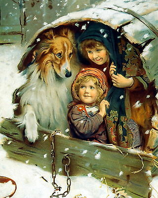 8x10 Art Print c19th Victorian Children & Collie Share Shelter from Winter Snow