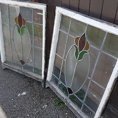 pair of 1890 stained glass panels