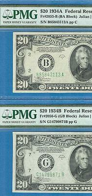 $20. 1934-A New York + $20. 1934-B Chicago Pmg Certified Au58 Pair