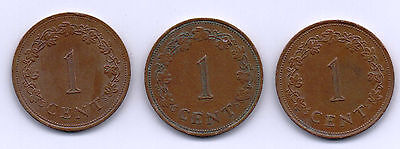 1972, 1977 & 1982 Malta Coins  1c As Per scanned images