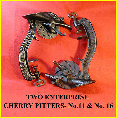 Two Enterprise Cherry Pitters--No.11 And No.16