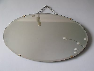 ANTIQUE OVAL ART DECO BEVELED MIRROR ON CHAIN 1930s