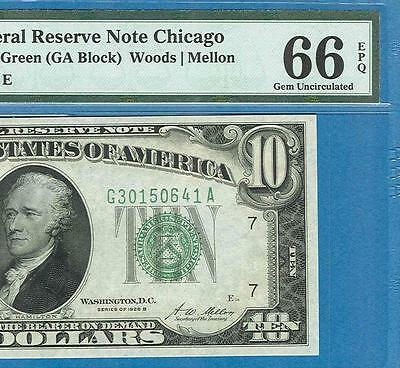 $10. 1928-B  Chicago Green Federal Reserve Note Pmg Certified Gem New 66Epq
