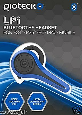 Gioteck LP-1 Bluetooth Chat Headset - Blue for Sony PlayStation PS4 PS3 & PC NEW