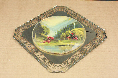 """Antique Hand-Crafte Folk Art Scenic """"3D"""" Painting on Beveled Mirrored Glass"""