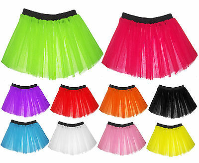 Child Childrens Kids Neon 3 Layers UV Flo Girls Tutu Skirt Hen Fancy Dress Party