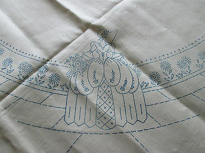 "Beautiful Vintage Irish Linen TableclothTransferred Ready to Embroider 52"" x 52"""
