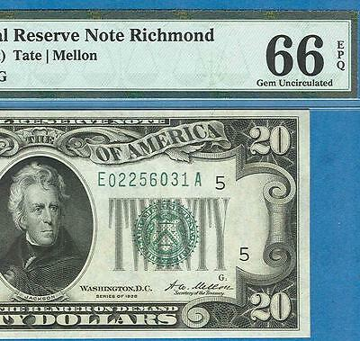 $20. 1928 Rare Richmond  Federal Reserve Note Pmg Certified Gem New 66Epq