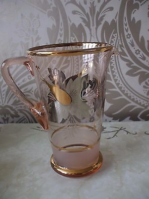 Vintage Retro Pink Floral Design Large Glass Pitcher Cocktail Jug 21cm Tall