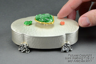 Chinese Silver Box w/ Jadeite Carving Finial, Floral Design Feet, 20th Century
