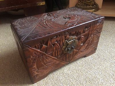 Vintage Oriental/Chinese Hand Carved Wooden Box