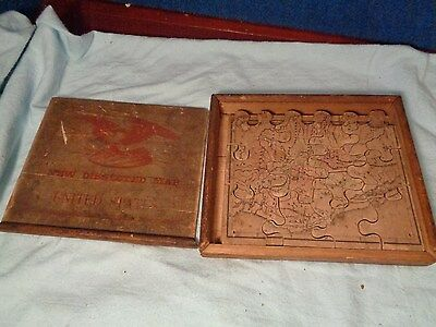 Antique Wood Wooden Jigsaw Puzzle **EARLY US MAP OF UNITED STATES**