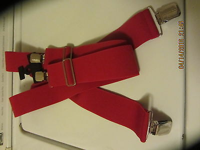 "Men's Red Work Style Suspenders 2"" Clip Style FREE SHIPPING"