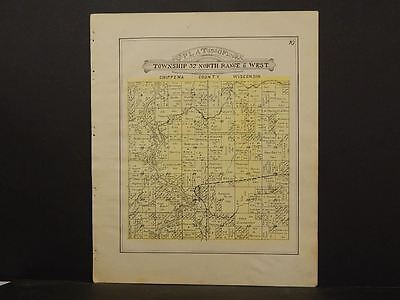 Wisconsin Chippewa County Map Holcombe  Township 1913  Y11#48
