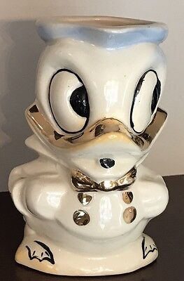 Vintage Walt Disney Donald Duck Ceramic Pitcher Creamer Gold Trim Great Cond