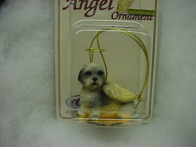 LHASA APSO gray dog ANGEL Ornament HAND PAINTED resin Figurine Christmas puppy