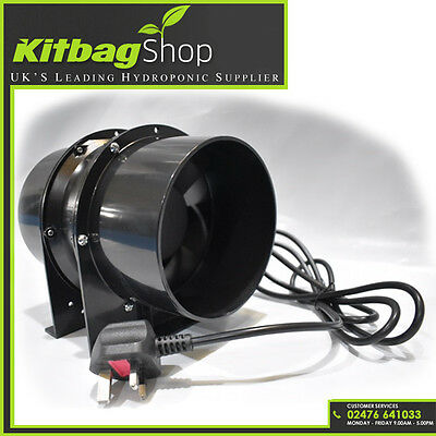 """Inline hydroponics extractor fan 150mm 6"""" fits grow tents air cooled reflector"""