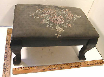 Vintage Antique Wooden Footstool Foot Stool Upholstered Top Cabriole Legs 1930's