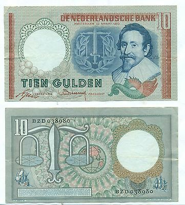 Netherlands Note 10 Gulden 23.03.1953 P 85 Axf