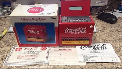 (Ma4) Coca Cola Sliding Bottles Vending Machine Musical Die-Cast Bank By Enesco