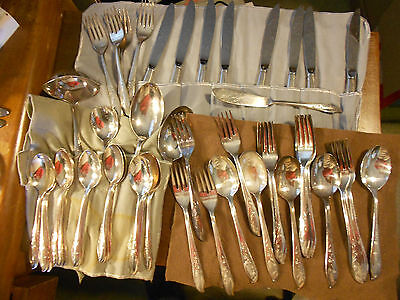 Roger silverware Springtime 50 pieces Wm Rogers silverplate flatware