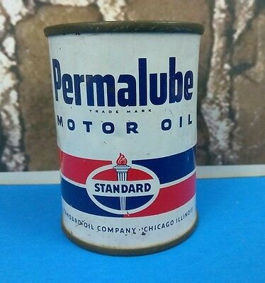 Vintage Permalube Standard Mobile Oil Chicago Illinois Coin Bank Advertising