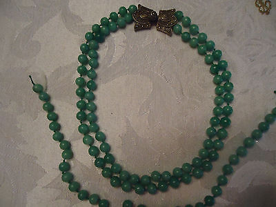 Rare Jade Triple Strand Chinese Antique Necklace Unusual Sterling Silver Clasp