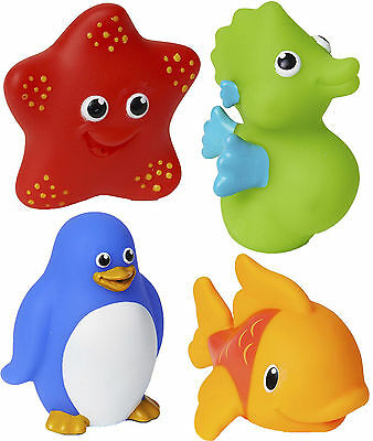 Munchkin 4 SQUIRTIN SEA SQUIRTS Water Squeeze Bath/Tub Toy Baby/Toddler - New