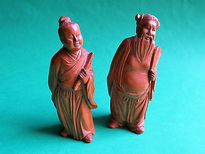 Pair Old Chinese Carved Wood Figures   Light Colour Wood