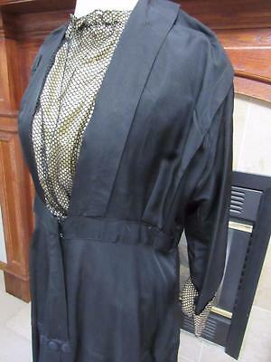 Antique Vtg EDWARDIAN Womens Dress BLACK Satin Finish Heavy Silk? Size XL