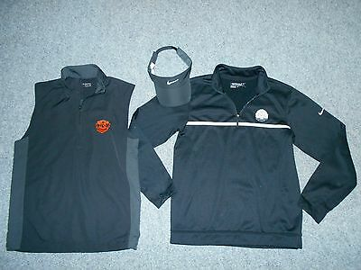 3 Nike Golf Mens Small Pullover Shirt Vest & Visor Lot  / Therma-Fit