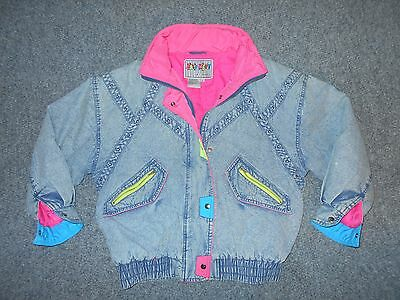 East West Vintage 80's Mens Medium Neon Colors Insulated Denim Jean Jacket