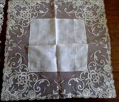 """Beautiful Hand Made Antique Lace Trimmed Handkerchief ~ 12"""" By 12"""""""