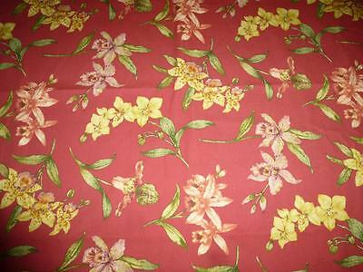 """4 Yards 58"""" w Cotton ORCHID COVE FABRIC Upholstery Drapery VILLAGE Screen Print"""