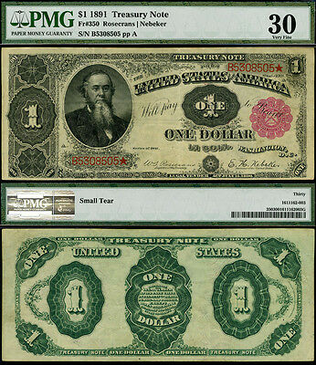 FR. 350 $1 1891 Treasury Note Comments PMG VF30