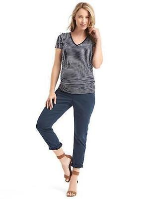 Nwt Gap H 2016 Maternity Girlfriend Chinos Full Indigo Blue Crop Pants 14 Reg