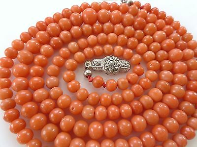 835 Silver Victorian Vtg Natural Salmon Red Carved Coral Bead Necklace Antique