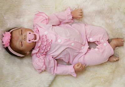"22"" Handmade Soft Silicone Reborn Sleeping Doll Girl Soft Vinyl Lifelike Newborn"
