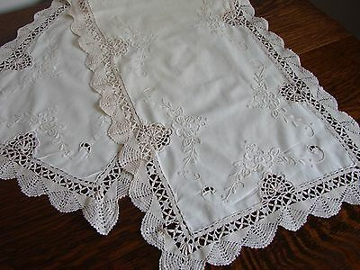 """Lovely vintage cream cotton embroidered & crochet lace table runner  42"""" x 14"""""""