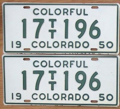 1950 Colorado License Plate Number Tag PAIR Plates – Truck Tractor