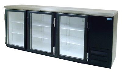 "Fogel MR-30-GL 90"" Three-Section Back Bar Cooler, 26 Cubic Feet Capacity"