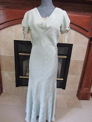 Vintage 1937 PALE GREEN Silk Dress PROVENANCE Long Fitted Gown Lace Trim