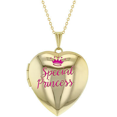 """Heart Shaped Photo Locket Pink Special Princess Crown Girls Pendant Necklace 16"""""""