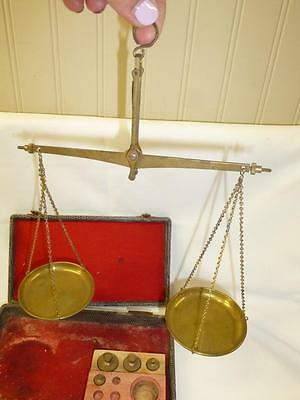 Antique Vintage Brass HANGING SCALES 243 West Germany w/ Weights & Orig Box