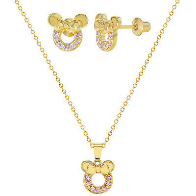 18k Gold Plated Pink CZ Mouse Toddler Girls Earrings Pendant Jewelry Set