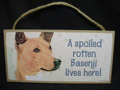 BASENJI A Spoiled Rotten DOG PICTURE SIGN wood WALL HANGING PLAQUE puppy NEW